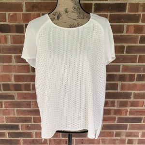 NWOT Calvin Klein white crochet short sleeve top